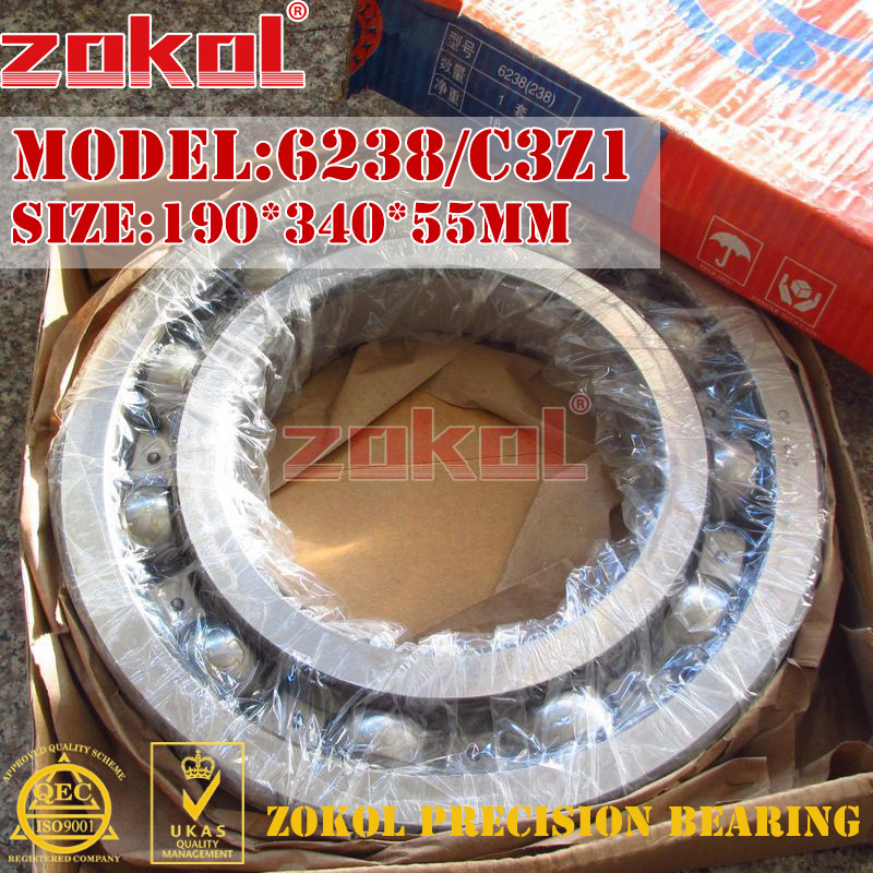 ZOKOL bearing 6238 C3Z1 Groove ball bearing 190*340*55mm zokol bearing 51312 thrust ball bearing 8312 160 200 31mm