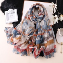 2019 summer silk scarf for women scarves pashmina print thin soft shawls and wraps bandana beach stoles hijabs foulard femme chic flags and newspaper print soft bandana scarf for women
