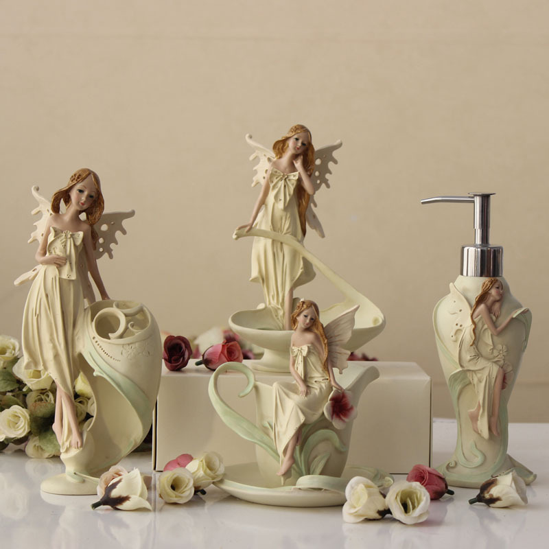 Creative European Style Angel Bathroom Accessories Set 40Pcs Bath Extraordinary Decorative Bathroom Accessories Sets