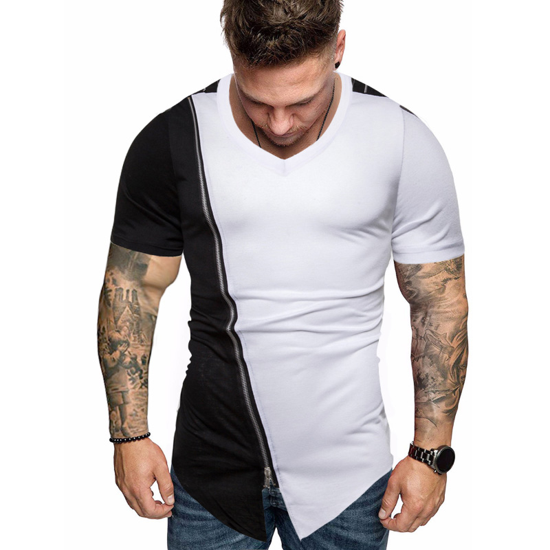 Autumn Slim Streetwear O Neck T Shirt Men Casual Fitness Tops&Tees Slant Shoulder Zipper Long Sleeve Pullover Shirt Homme(China)