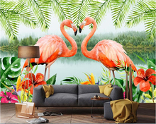 beibehang Custom personalized three-dimensional wallpaper flamingo modern minimalist Nordic background papel de parede painting