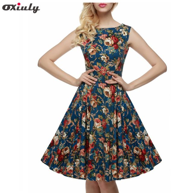 64d793779f2 Oxiuly Summer Women 60s Elegant Vintage Rose Floral Pattern Printed Slash  Neck Sleeveless Vestidos Casual Prom
