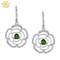 Hutang 1.12ct Natural Chrome Diopside Flower Drop Earrings Real Solid 925 Sterling Silver Gemstone Fine Jewelry Women's gift