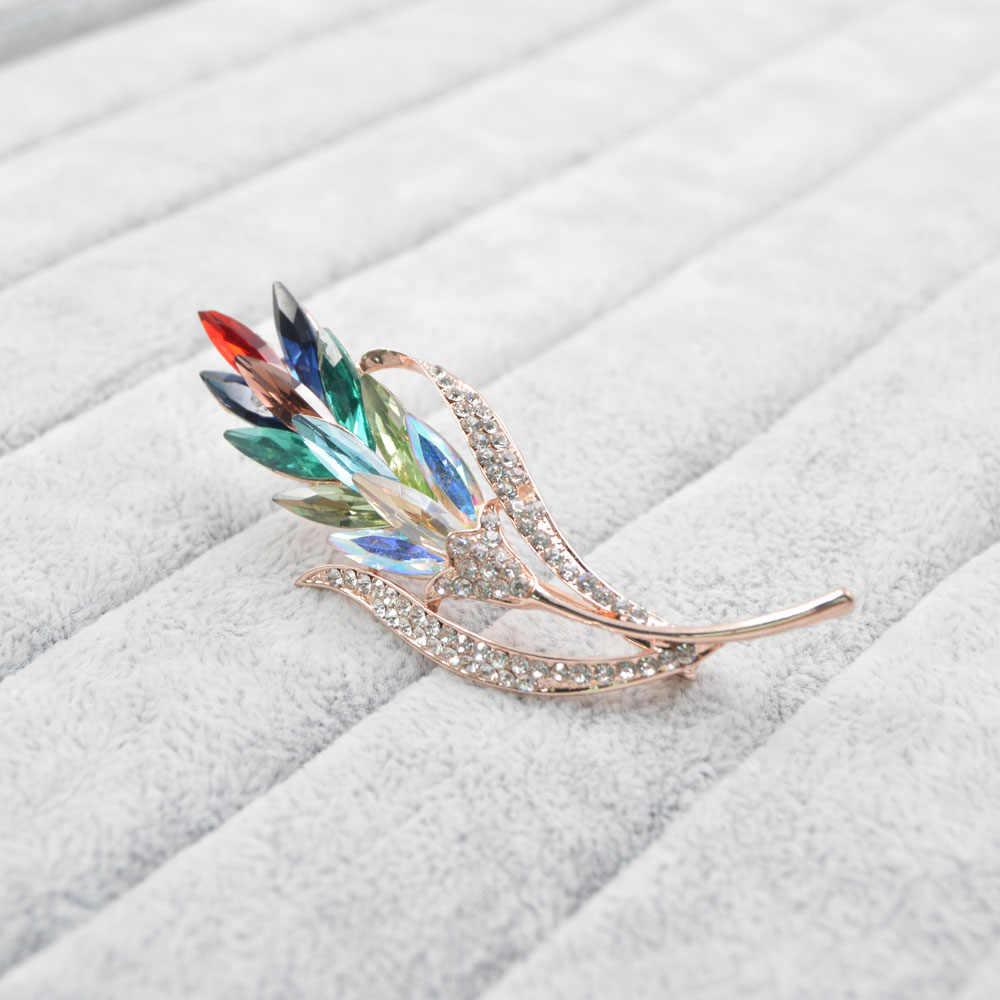 Cinkile Multi Warna Bunga Kristal Bros Rhinestone Bros Pin Fashion Perhiasan Gaun Mantel Korsase Perhiasan Bros Hadiah