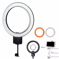 Nanguang R640 65W Dimmable Annular LED Lamp Video Studio Lighting For Makeup Photography Ring Light With Cloth Softbox&Mirror