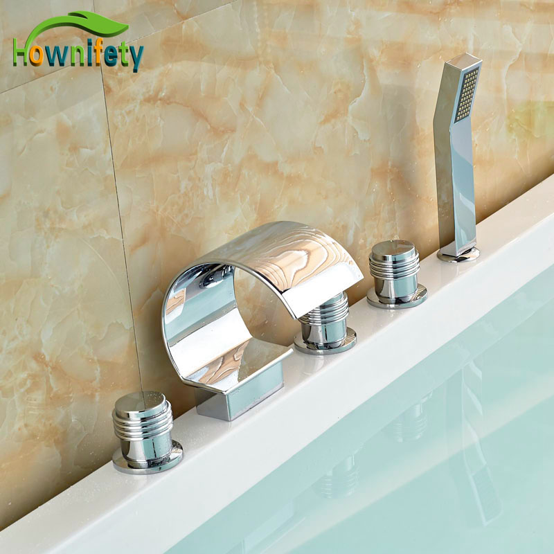 Swivel Spout Bathroom Tub Faucet 5pcs Deck Mounted Mixer Faucet Three Handles With Hand Shower цена