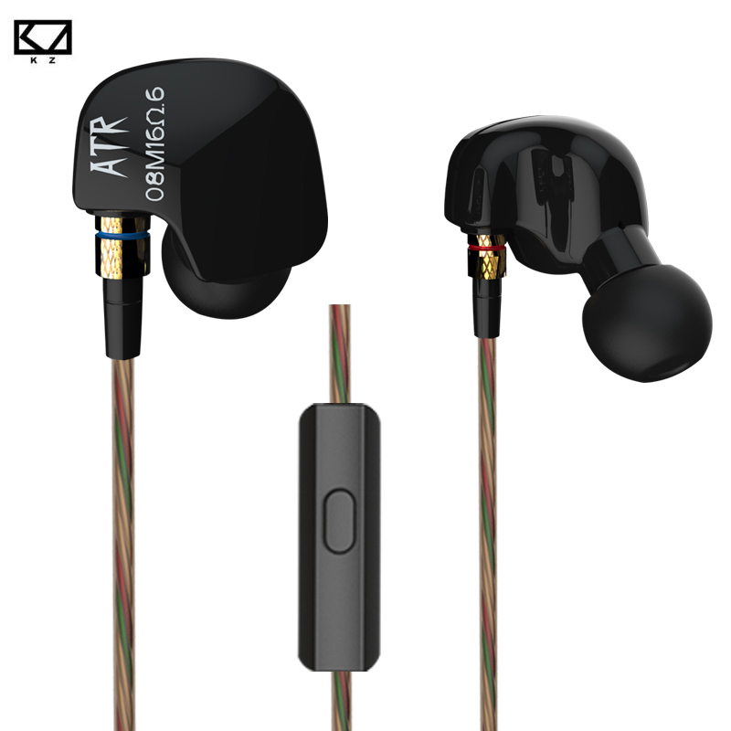 Original KZ ATR In-Ear Earphone Noise Cancelling Earbuds with Mic Sports Stereo Bass HIFI Headset ABS Dynamic Unit for iPhone 7 aerocool 15 blade 1 56w mute model computer cpu cooling fan black 12 x 12cm 7v