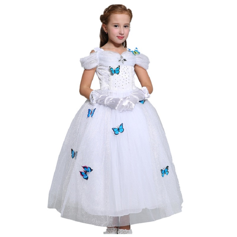 Girls Dress Vintage Floral Summer Snow White Girl Princess dress Party Baby Girls Bridesmaid Flower Butterfly Wedding Dress