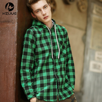 HZIJUE Fashion Men Hoodies Cotton Autumn Winter Coat Long Sleeve Plaid Cotton Hoodies Casual Button Hooded