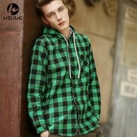 HZIJUE Fashion Men Hoodies Cotton Autumn Winter Coat Long Sleeve Plaid Cotton Hoodies Casual Button Hooded