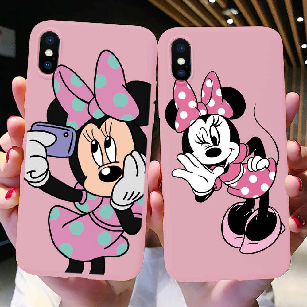 Pink Matte <font><b>Case</b></font> For <font><b>iPhone</b></font> 11 Pro Xs Max 7 <font><b>8</b></font> Plus Colorful <font><b>Cartoon</b></font> Lovely Phone <font><b>Case</b></font> for <font><b>iPhone</b></font> 6 6S XR X TPU Soft <font><b>Silicon</b></font> Cover image