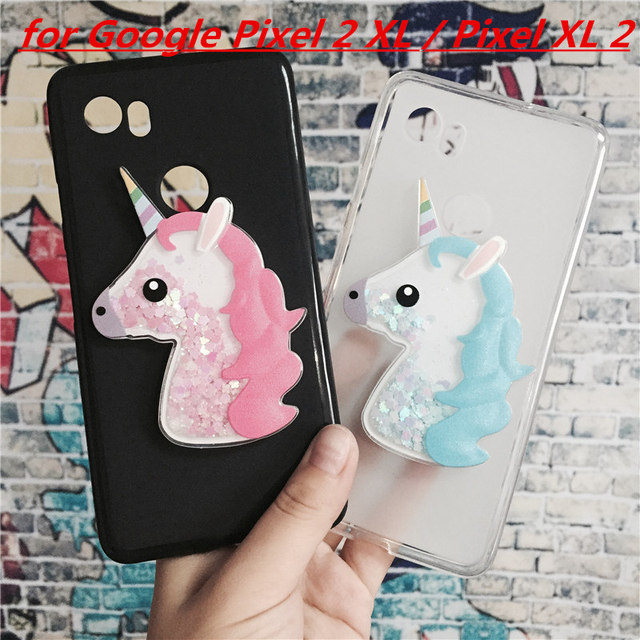 online store 32f95 1ed5b US $1.63 18% OFF|3D Unicorn Quicksand Liquid Soft Silicone Case for Google  Pixel 2 XL/Pixel XL 2 Phone Cover Cartoon Diamond Funda Coque Fashion-in ...