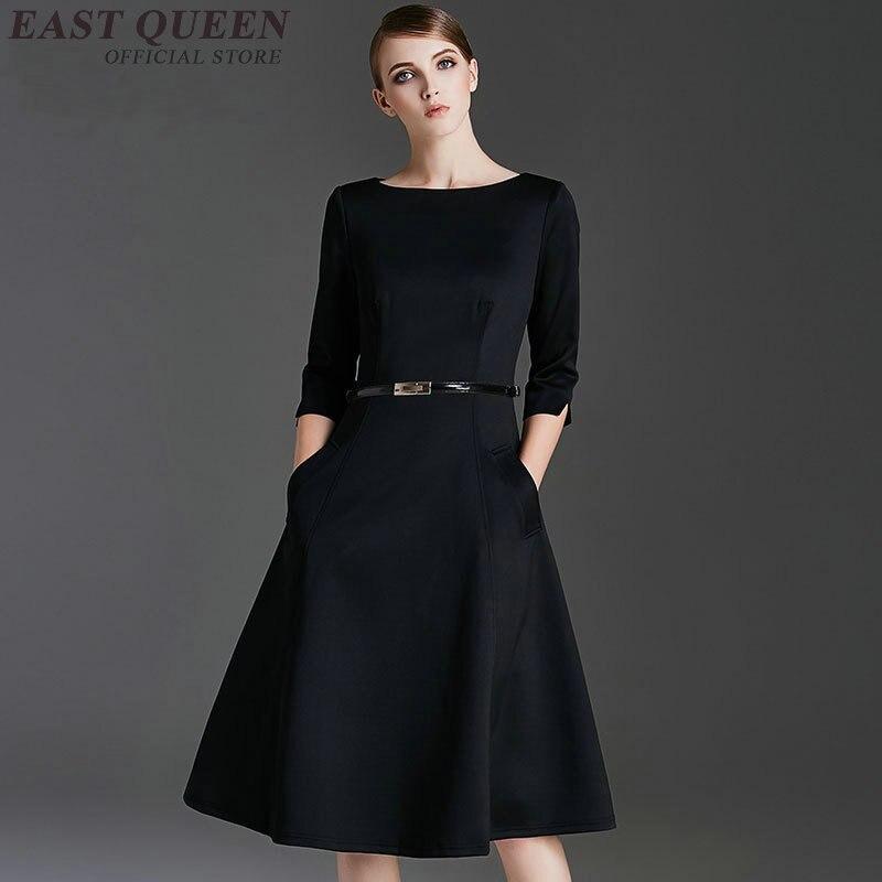 Dames printemps automne femmes robes élégant tunique moulante affaires robe femmes A-ligne bureau genou-longueur d'o-cou robe DD335 F