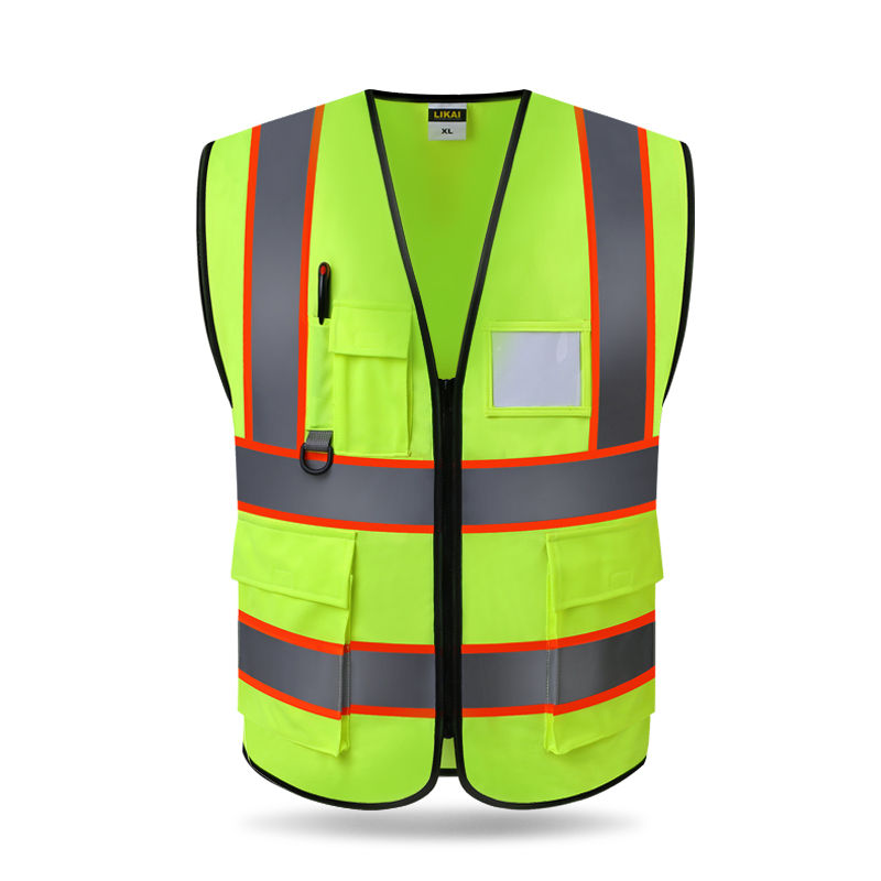 Mens Women Safety Vest Reflective Running Gear Motorcycle Construction Outdoor Vest Zipper Front with Pockets Yellow and Orange цена и фото