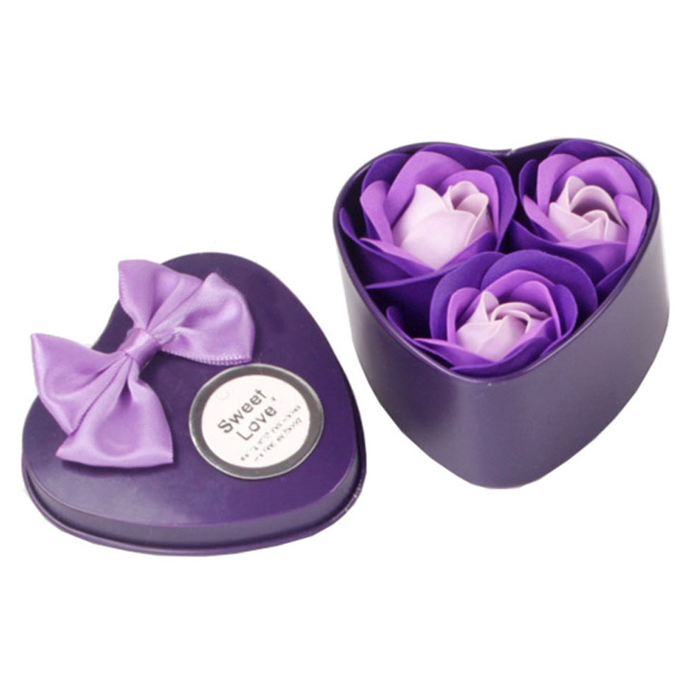 Practical 3Pcs Heart Scented Bath Body Petal Rose Flower Soap Wedding Decoration Gift favor gifts for luxurious bath(China)