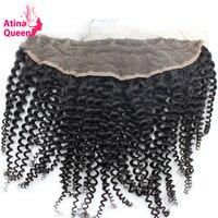 Атина королева афро кудрявый вьющиеся 13x4 уха до уха Кружева Фронтальная застежка с ребенком волос естественной линии роста волос 100% челове...