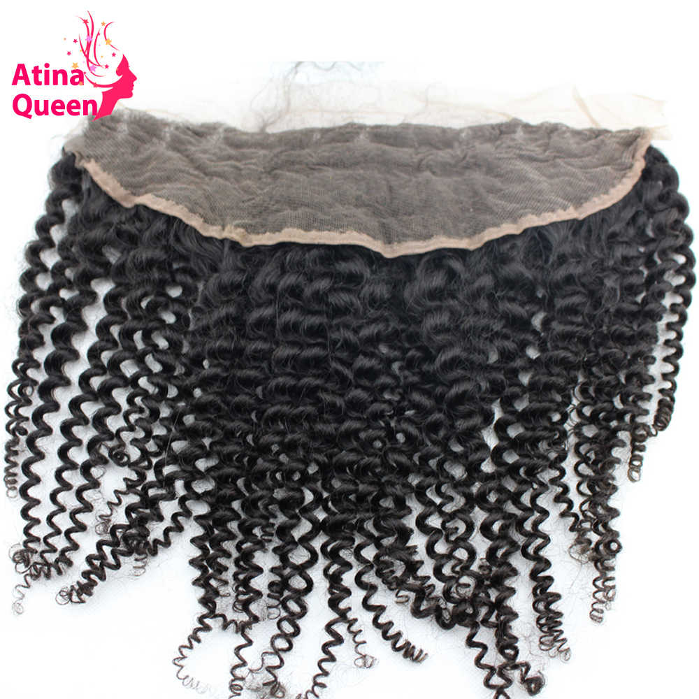 Atina reina Afro rizado 13x4 oreja a oreja cierre Frontal de encaje con pelo de bebé línea de cabello Natural 100% pelo humano Remy envío gratis