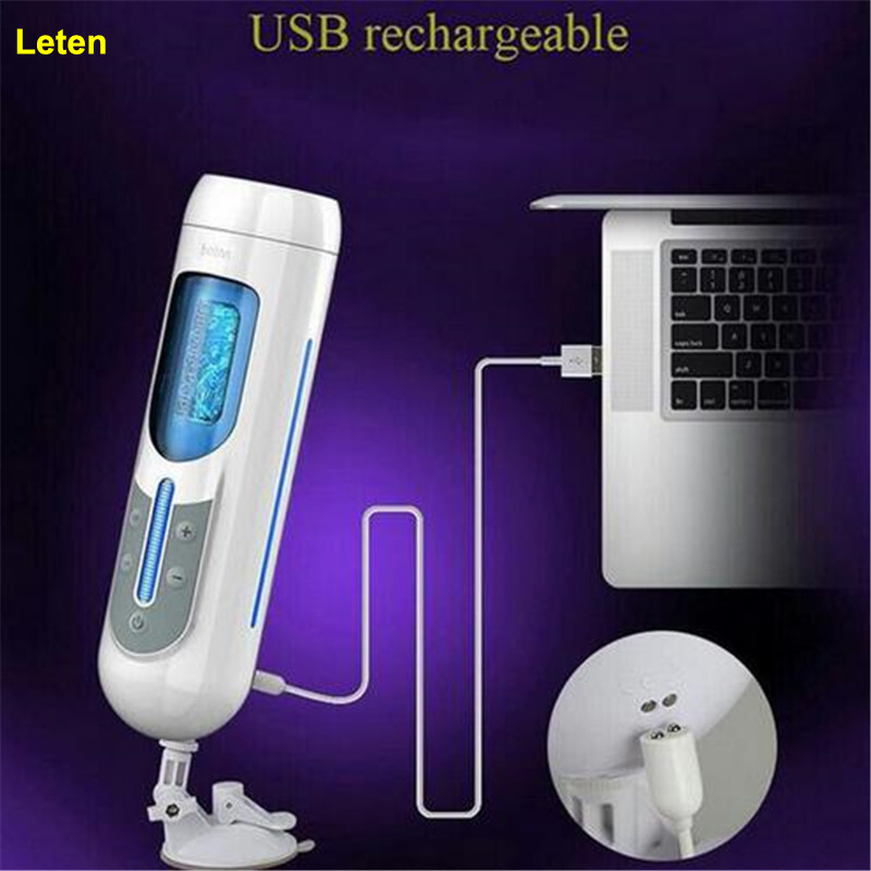 Фотография Leten USB charge Vibrator sex toys for men Artificial vagina real pussy Male Masturbator for man Yapay vajina Masturbation cup