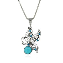 Female Favor Women lovely chain butterfly necklace Natural Turquoise Pendant Necklaces Jewelry 1pc free shipping