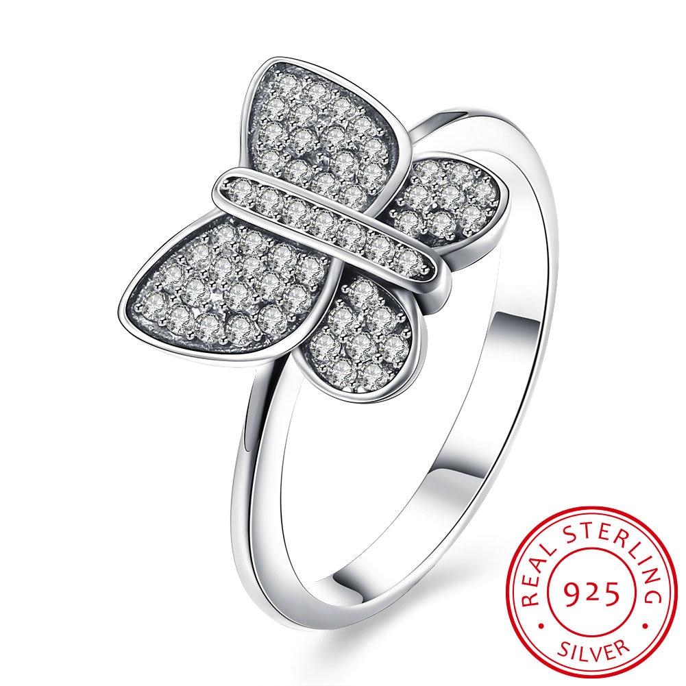 Papillon 925 bague en argent Sterling pour les femmes Zircon mariage cadeau de fiançailles de luxe Cz réglage de la pierre bijoux de mode