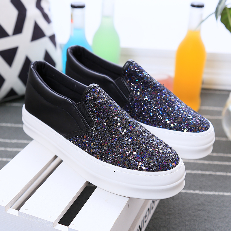 Women Platform Loafers Ladies Creepers Autumn Spring Casual Fashion Bling Glitter Shoes Woman Slip On Flats Chaussure Femme phyanic crystal shoes woman 2017 bling gladiator sandals casual creepers slip on flats beach platform women shoes phy4041