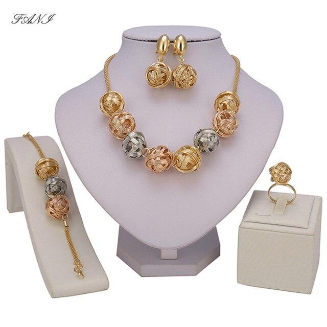 Fani אופנה סטי תכשיטי חרוזים אפריקאים כלה ניגרית קריסטל דובאי זהב/רסיס/עלה ערכות תכשיטים צבעוניים לנשים לקוח