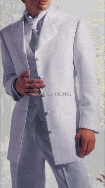 На заказ удлинить 5 кнопки жених смокинги белого нотч дружки мужчины свадебные костюмы жених JacketPantsTieVest
