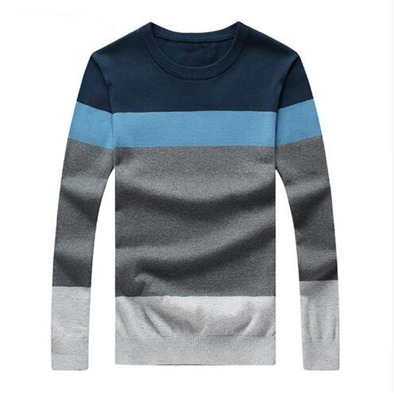 2018 New Sweater Men Autumn Hot Sale Top Design Patchwork Cotton Soft Quality Pullover Men O-neck Casual Brand Clothing