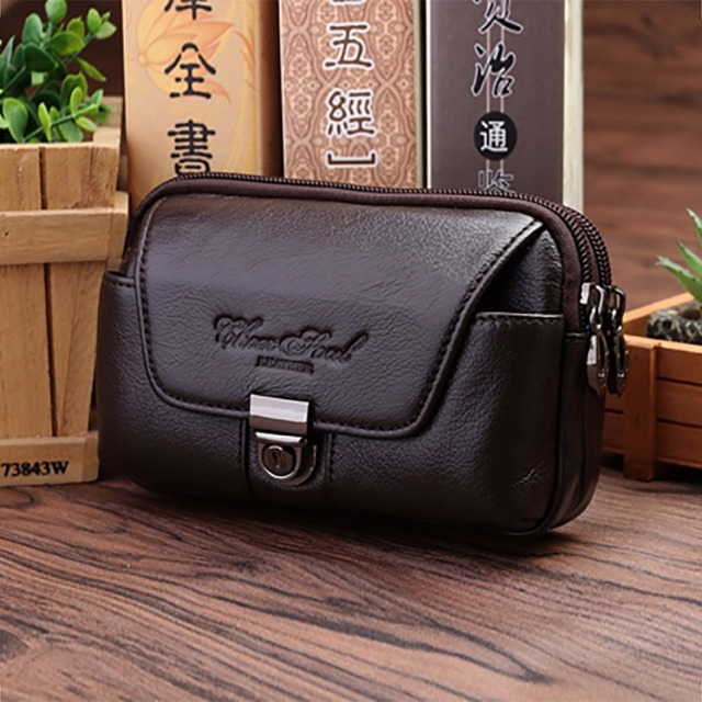 bee8f492c0f5 US $13.19 34% OFF|New Cowhide Waist Bags Genuine Leather Casual Small  Wallet Purse For Men Hip Bum Cell/Mobile Phone Case Loops Belt Fanny  Pack-in ...