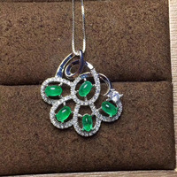 Natural Green Emerald Gem Pendant S925 Silver Natural Gemstone Pendant Necklace Trendy Flower Group Women Party