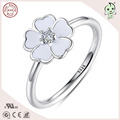 Popular European Famous Brand Enamel Cherry Blossom Design 925 Sterling Silver Cherry Ring