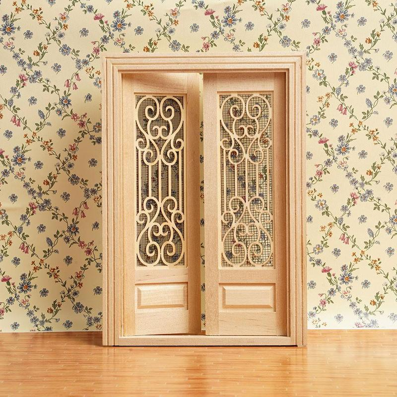 Dongzhur 1:12 Dollhouse Mini Scene Model Vegetarian Embryo Pair Open Screen Door Frame Can Color Doll Toy Furniture Accessories