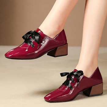MLJUESE 2020 women pumps cow leather autumn spring lace up wine black color square toe high heels lady shoes party size 34-42