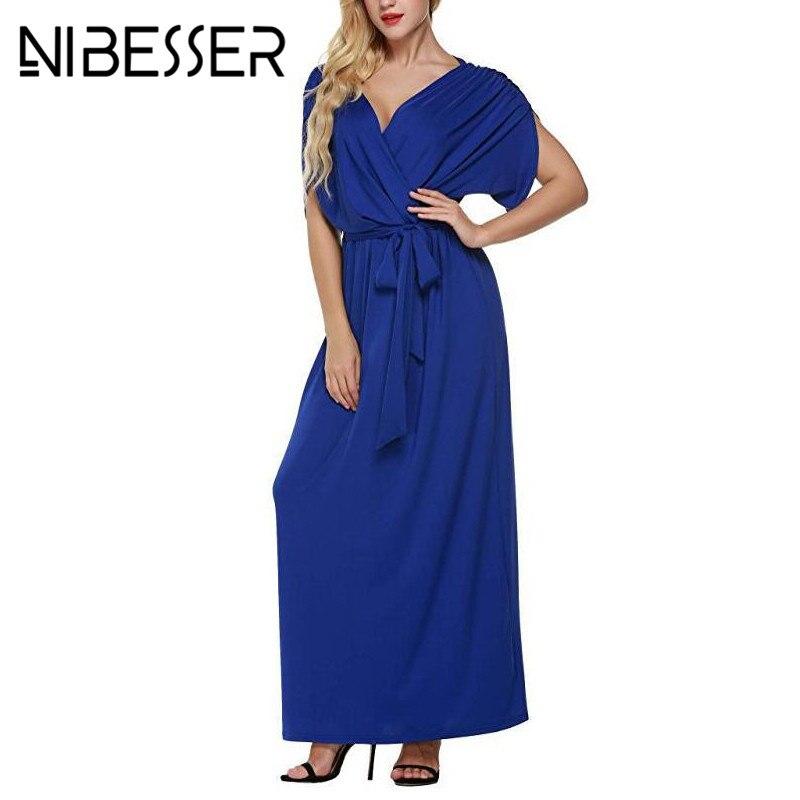 NIBESSER Dress Women 2018 Summer Sexy V Neck Batwing Maxi Long Dress Party Full Gown Belt Vestidos Femininos Plus Size XXXL 4XL