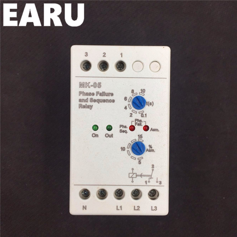 MK-05 Phase faliure and Phase Sequence Relay with din rail mounting MK-05 Phase failure phase sequence relayMK-05 Phase faliure and Phase Sequence Relay with din rail mounting MK-05 Phase failure phase sequence relay