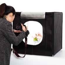 Envío libre + 40 cm * 40 cm photo Studio caja suave Shooting Tent Light LED caja de luz lichtbak foto tienda + bolso portable + 2 Telones de fondo