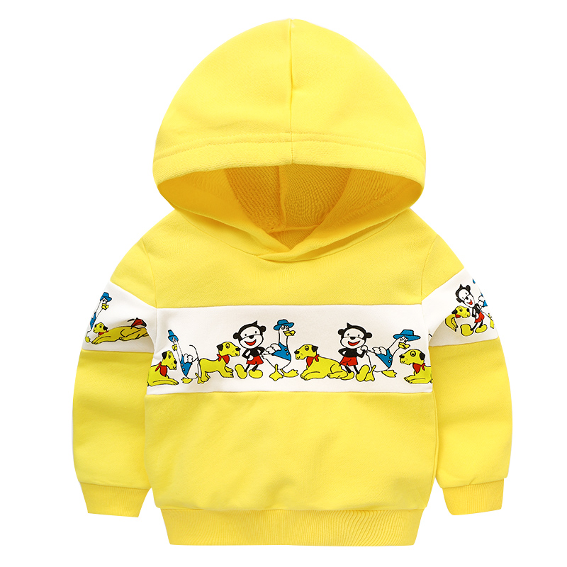 Maggies Walker Baby boys and girls clothes Spring autumn kids hooded sweatshirts Yellow cartoon print cotton hoodies pullover
