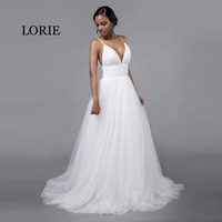 LORIE Cheap Wedding Dresses Princess Sexy Backless Spaghetti Strap Pleats Beach Tulle Real White Bridal