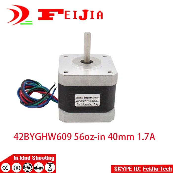 3 pcs 42BYGHW609 4-lead Nema 17 Stepper Motor 56oz-in 40mm 1.7A for 3D printer eu free 5 pcs wantai 4 lead nema 17 stepper motor 42byghw609 4000kg cm 40mm 1 7a reprap a4988 3d printer diy