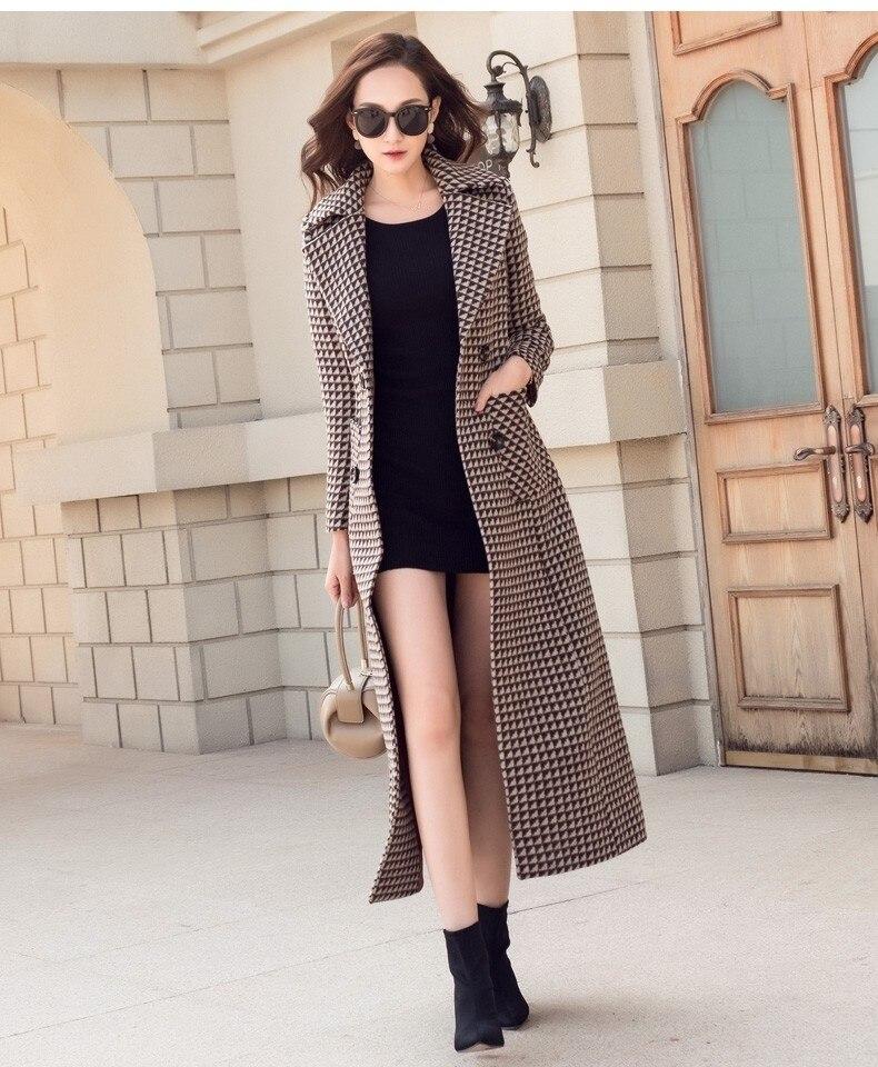 Frauen Lange Winter Dicke Hahnentritt Woolen Mantel-in Wolle & Mischungen aus Damenbekleidung bei  Gruppe 3