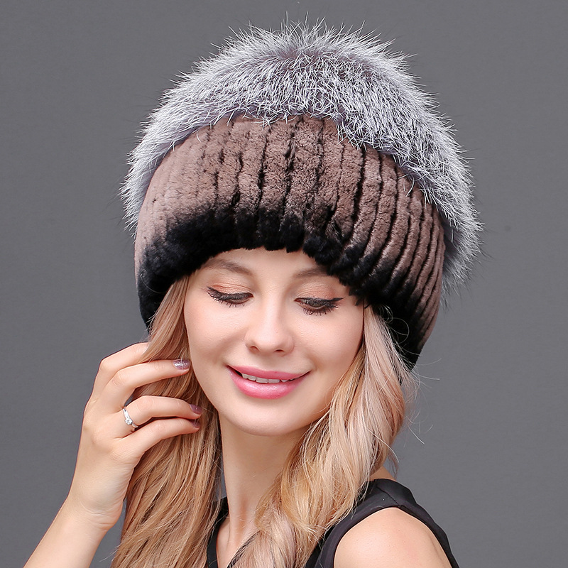 Maylooks Luxury Handmade Women's Fashion Real Knitted Narural Rex Rabbit Fur Hats Lady Winter Warm Charm Beanie Ladies Headgear