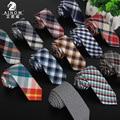 10 patrones nuevo estilo británico de lino del algodón 6 cm a cuadros corbata hombres flacos formales de la boda de negocios gravat alta calidad pajaritas