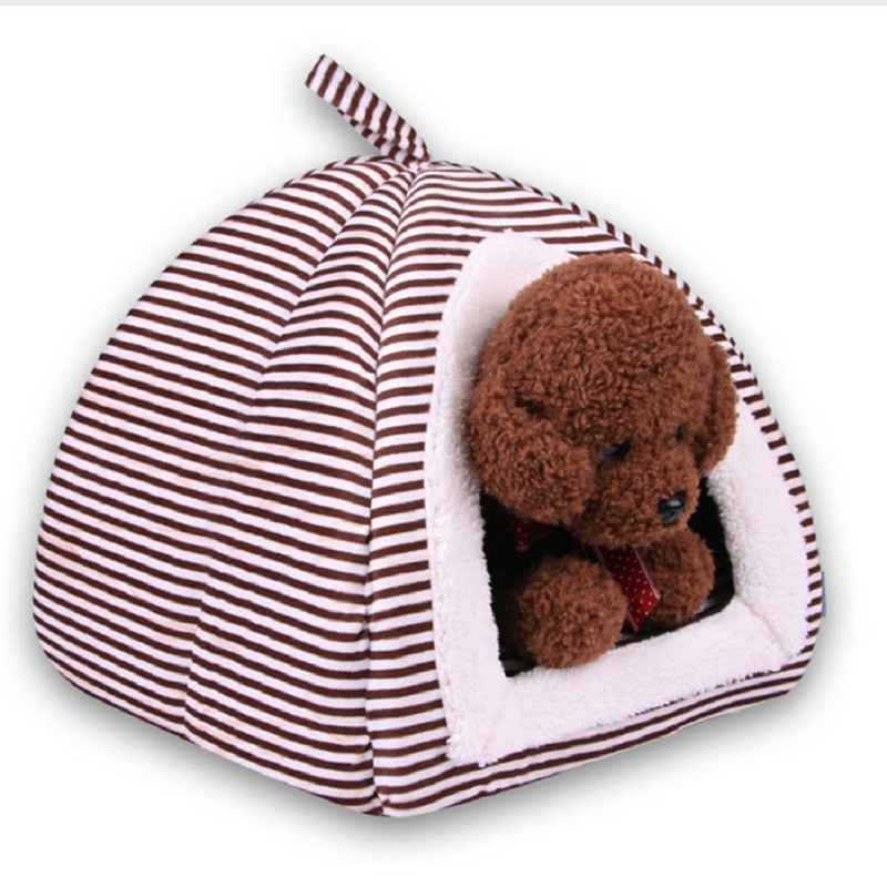 Foldable Stripe Dog House Puppy Teddy Mongolian Yurts Cats Tents Kennel Nest For Small Medium Pets Bed Sleeping Bag Pet Supplies