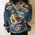 women basic coats 2016Tiger Butterfly Flower Bird Animal Pattern Embroidery Denim Jacket Turn Down Collar Coat Outwear