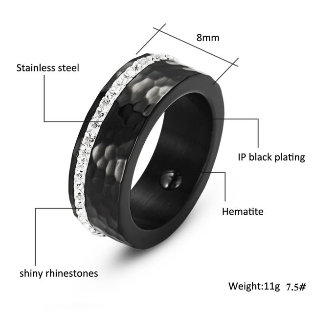 Hematite Health Elegant Stainless Steel Bio Energy Healing Ring
