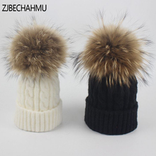 ZJBECHAHMU Hat New Fashion Spring Real Fox Fur Mink Pompoms 15cm Skullies Beanies For Women Girl Winter Solid Wool Warm