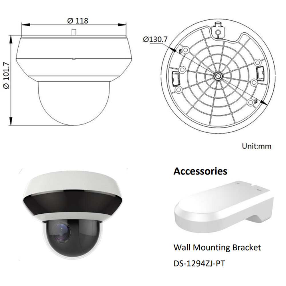 Image 5 - Hikvision OEM PTZ IP Camera DT2A404 =DS 2DE2A404IW DE3 4MP 4X Zoom Net POE H.265 IK10 ROI WDR DNR Dome CCTV Camera-in Surveillance Cameras from Security & Protection