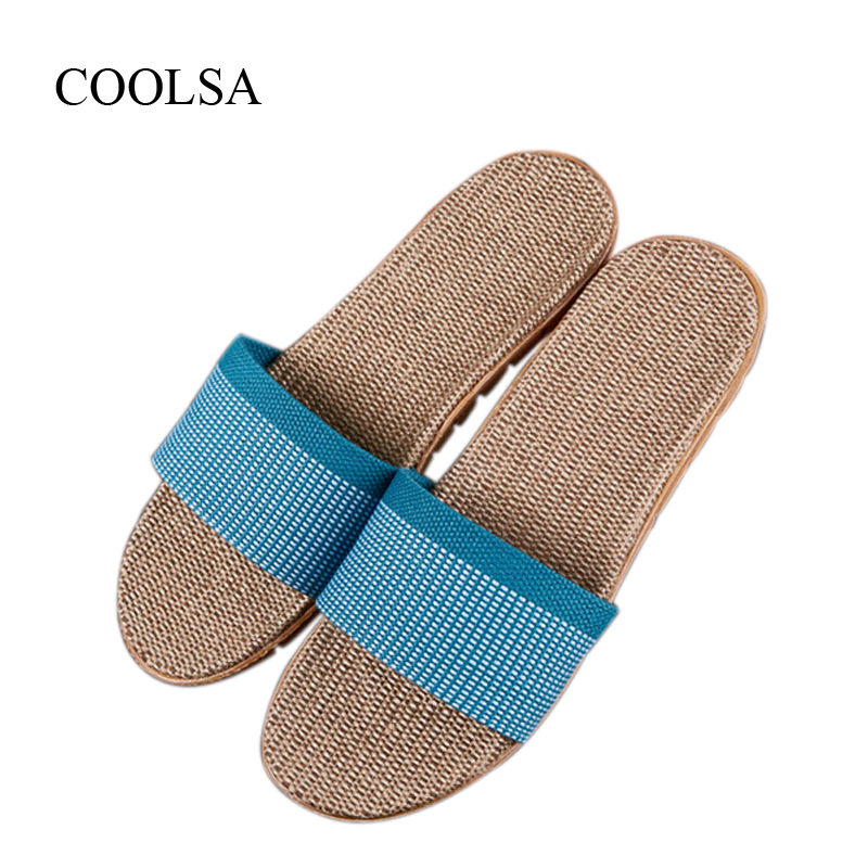 COOLSA Women's Breathable Linen Slippers Anti-slip Grid Flip Flops Indoor Floor Slippers Women's Home Hemp Slides Flax Slippers coolsa women s summer flat non slip linen slippers indoor breathable flip flops women s brand stripe flax slippers women slides