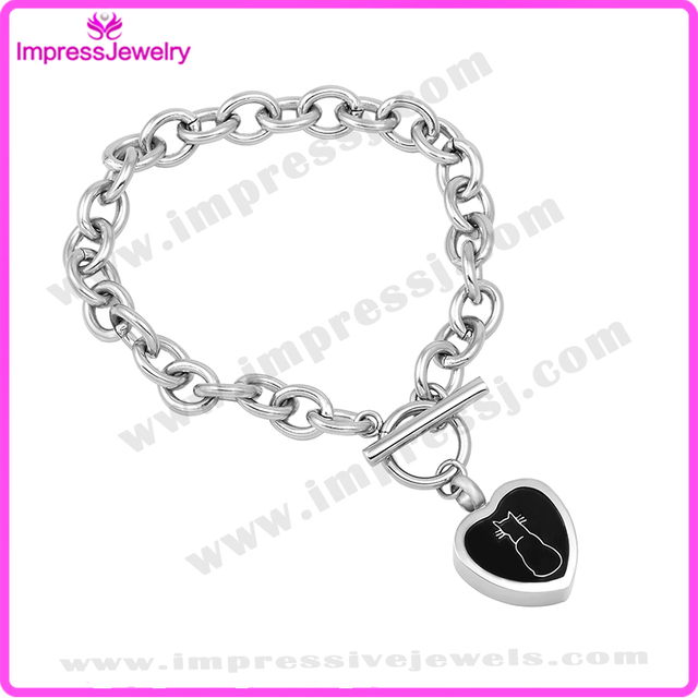 Ijd5061 Women Memorial Bracelet With Heart Charm Stainless Steel Cremation Ashes Keepsake Urn