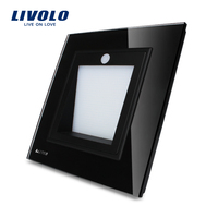 Manufacturer Livolo New A Rrival UK Standard Porch Corridor Corner Lamp Footlights Switch Black Color VL